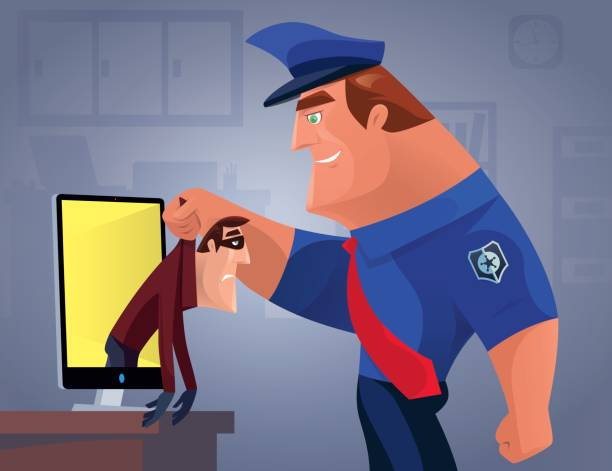 security guard catching thief from LCD vector illustration of security guard catching thief from LCD… police meeting stock illustrations