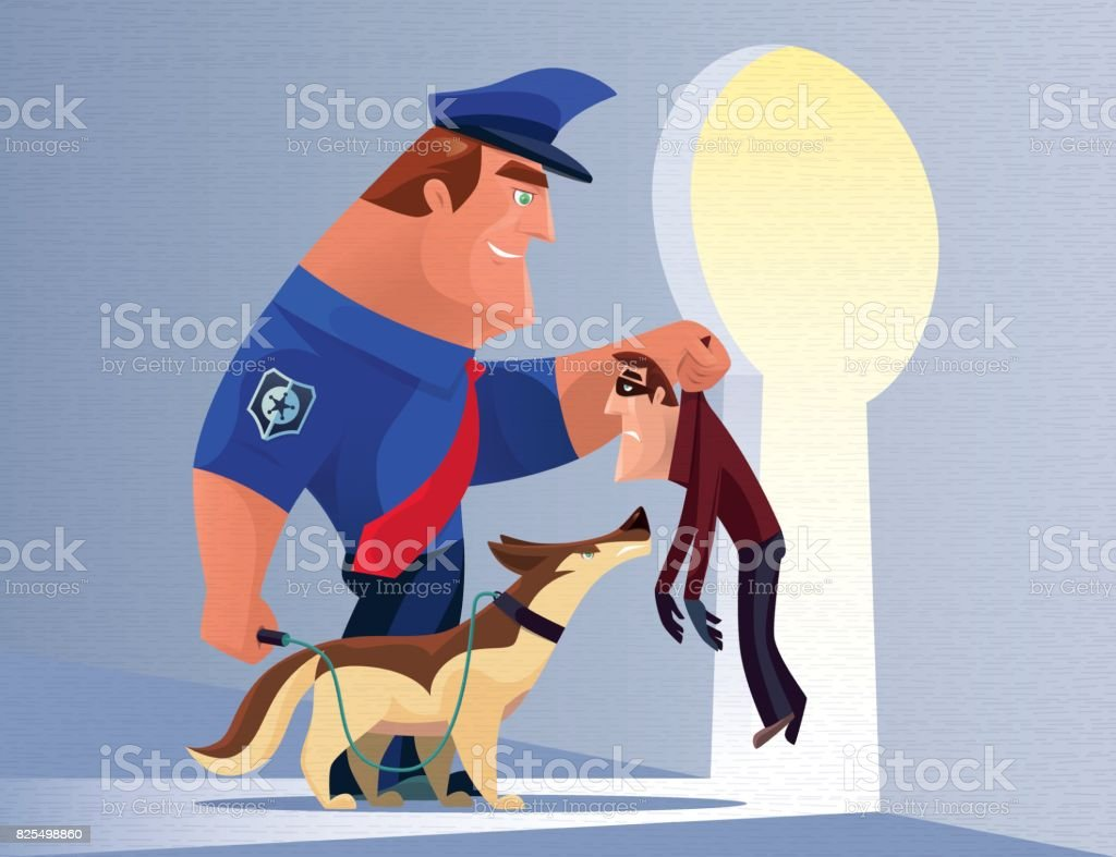 security guard catching thief vector art illustration