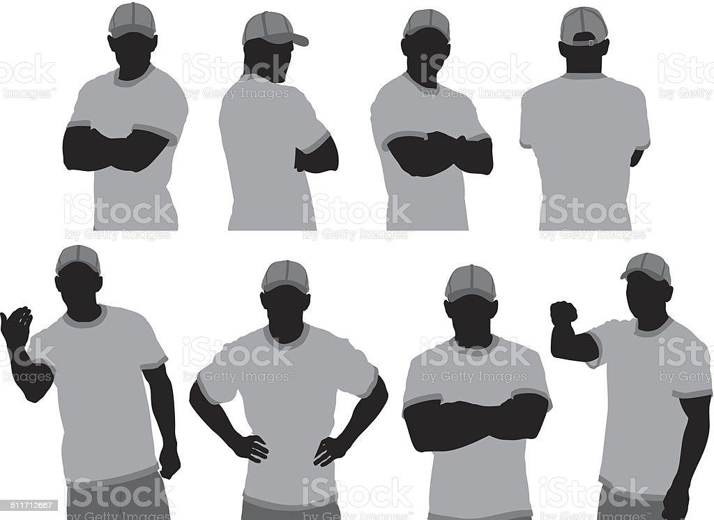Guardia de seguridad en diferentes poses - ilustración de arte vectorial