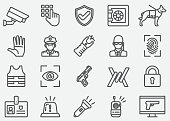 Security Guard Line Icons