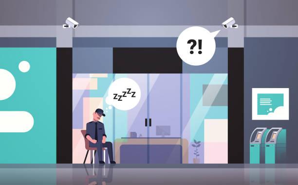 wachmann mann schlafen am arbeitsplatz eingang tür geschäftshaus außen cctv überwachung kamera chat blase arbeiter uniform ruht auf flachen horizontalen sessel - mann tür heimlich stock-grafiken, -clipart, -cartoons und -symbole