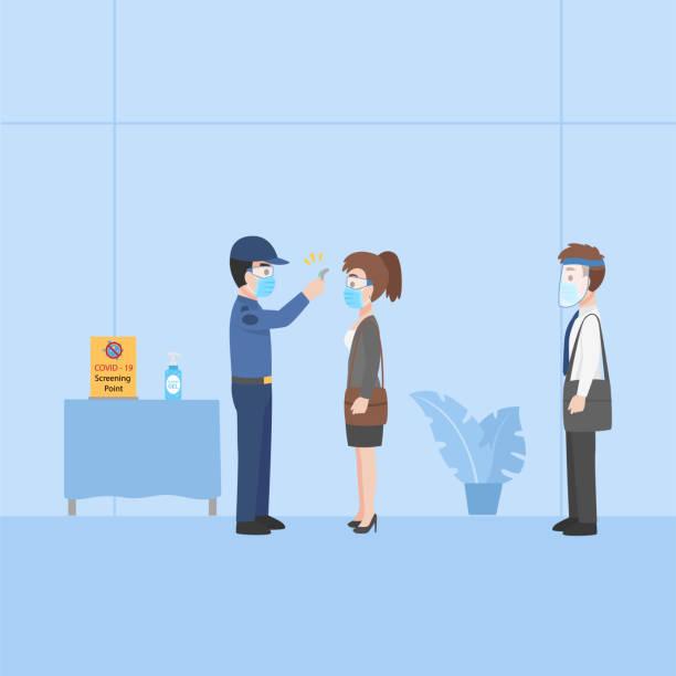 illustrazioni stock, clip art, cartoni animati e icone di tendenza di a security guard measures the temperature of people in business casual outfits - new normal
