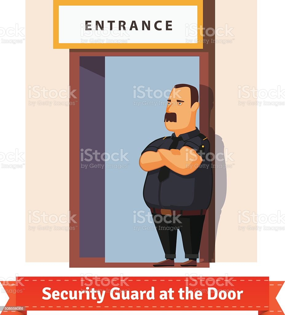 Security guard or bouncer working at the door vector art illustration