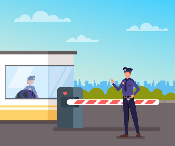 Security guard protect toll booth. Vector flat graphic design cartoon illustration vector art illustration