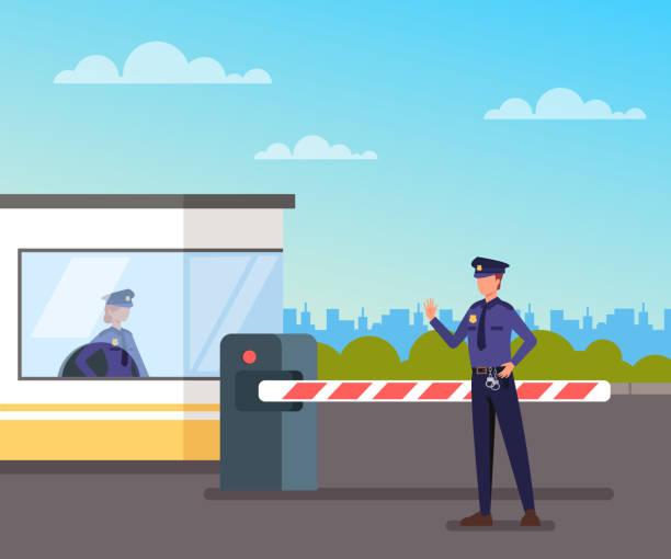 Sicherheitswacht schützt Mautstelle Vector Flachbild-Zeichentrickfilm – Vektorgrafik