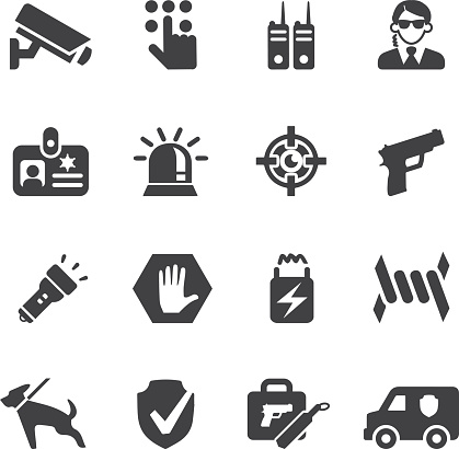 Security Guard Silhouette icons | EPS10