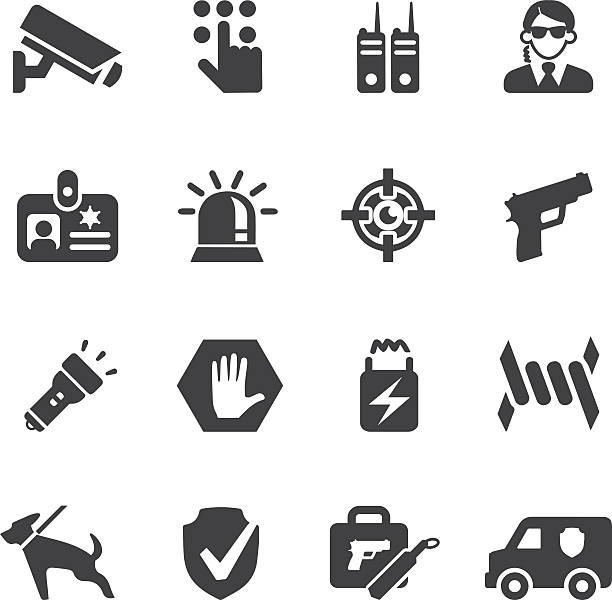 Security Guard Silhouette icons | EPS10 Security Guard Silhouette icons  gun stock illustrations
