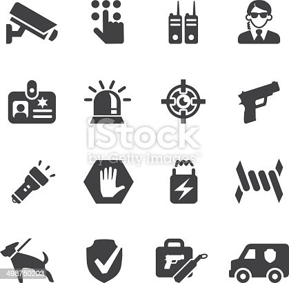 Burglar Alarm Cost >> Security Guard Silhouette Icons Eps10 Stock Vector Art & More Images of Alarm Clock 498750203 ...