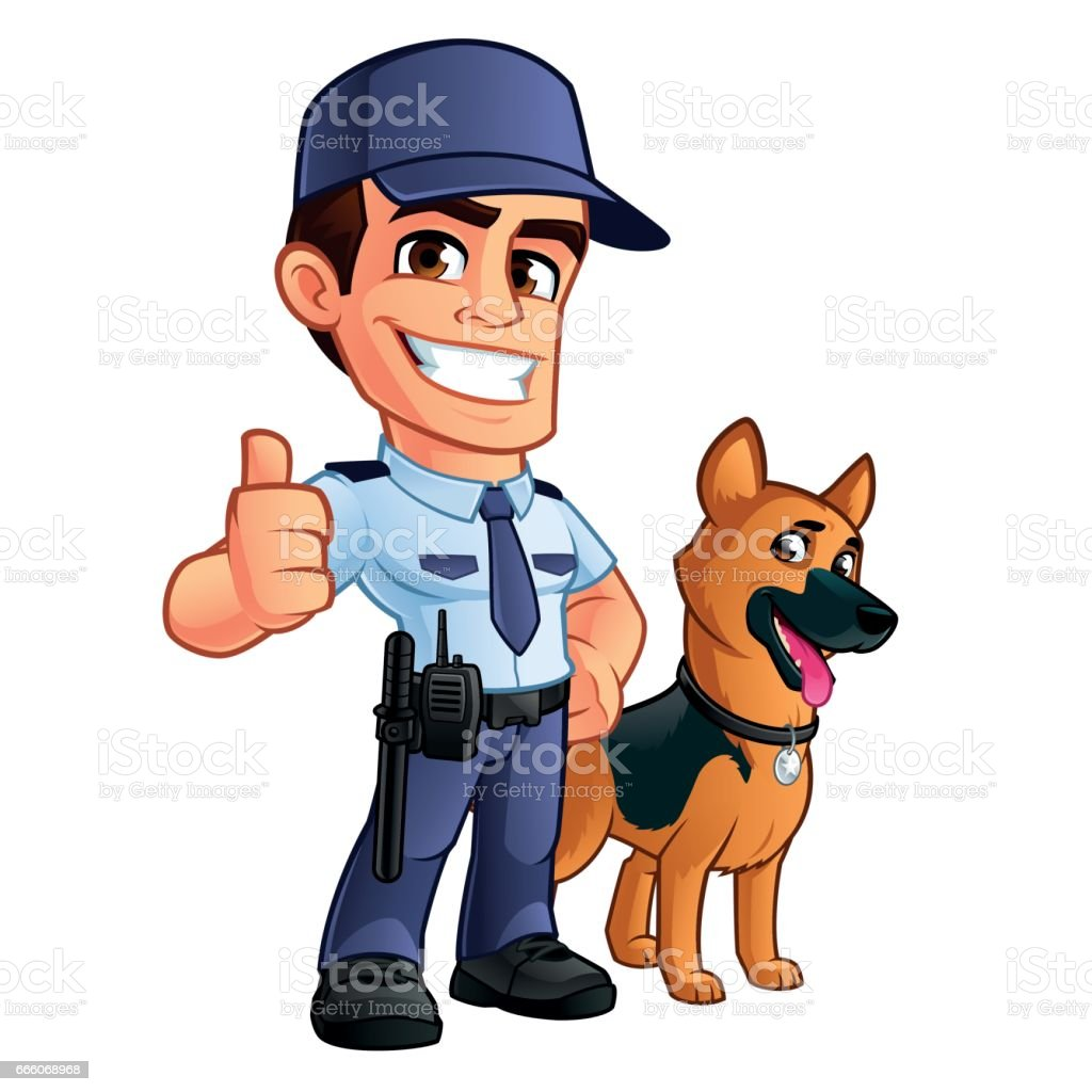 Security guard vector art illustration