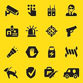 Security Guard Yellow Silhouette icons