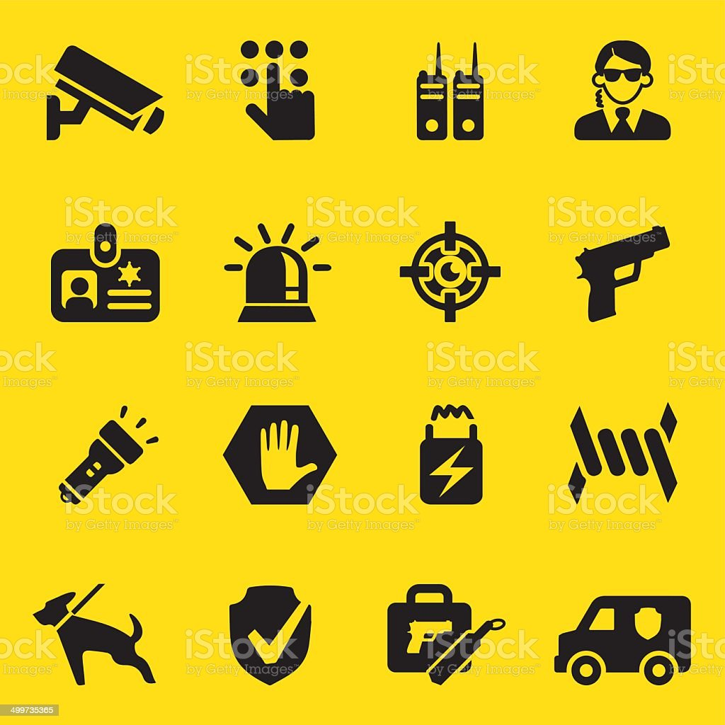 Security Guard Yellow Silhouette icons | EPS10 vector art illustration