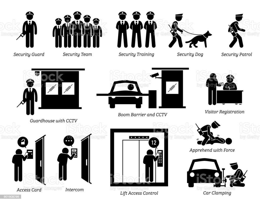 Security Guards Icons. vector art illustration