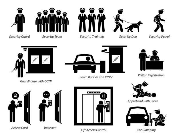 illustrations, cliparts, dessins animés et icônes de icônes de gardes de sécurité. - hall d'accueil