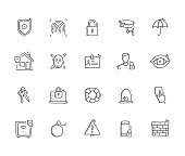 Security Hand Draw Line Icon Set
