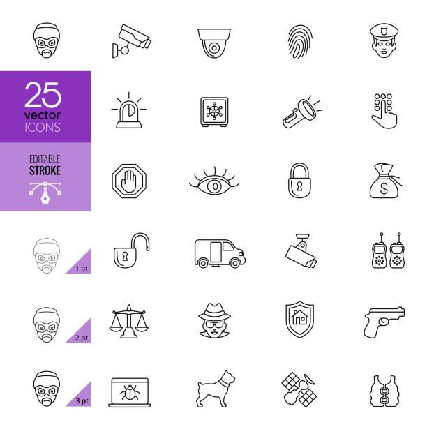 セキュリティアイコンセット。編集可能ストローク - id盗難点のイラスト素材/クリップアート素材/マンガ素材/アイコン素材