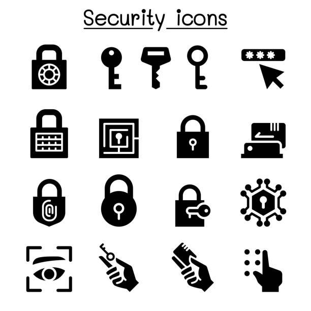 ilustrações de stock, clip art, desenhos animados e ícones de security icon set - going inside eye
