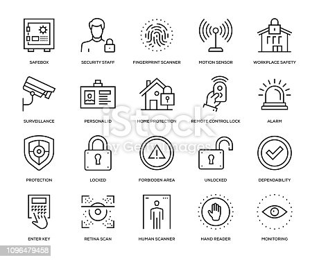 Security Icon Set - Thin Line Series