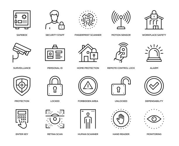 Security Icon Set Security Icon Set - Thin Line Series safety deposit box stock illustrations