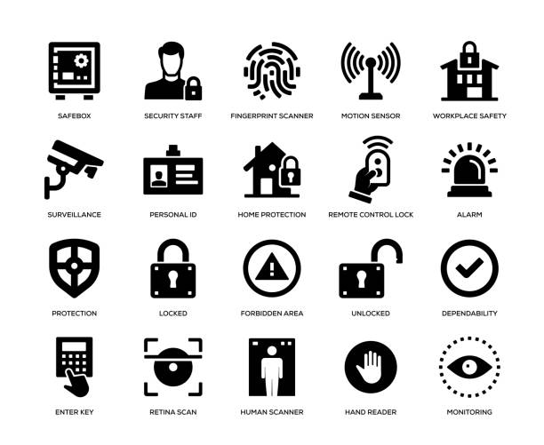 Security Icon Set Security Icon Set safety deposit box stock illustrations