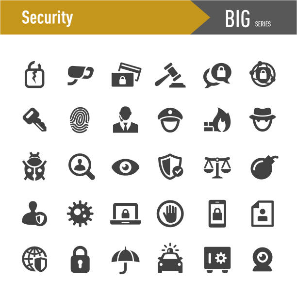 Security Icons - Big Series Security, security staff stock illustrations