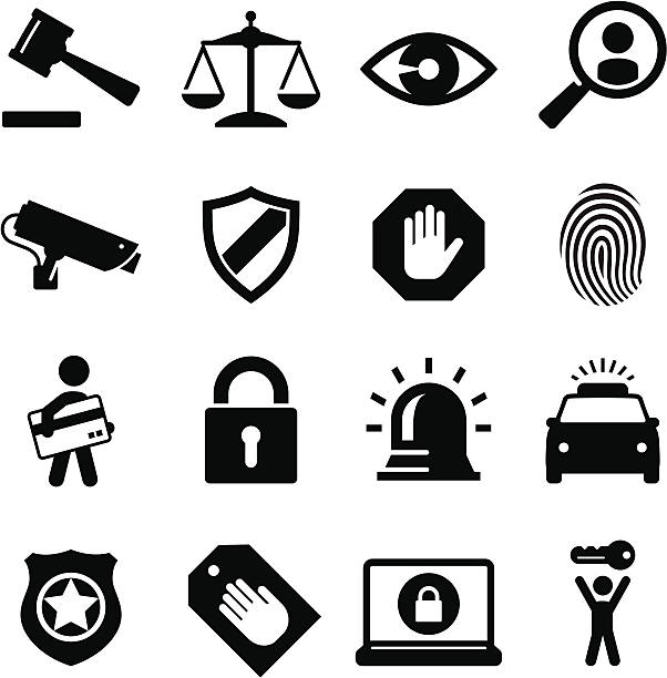 Security Icons - Black Series Security and legal theme icon set. Professional icons for your Web site or print project. See more in this series. emergency equipment stock illustrations