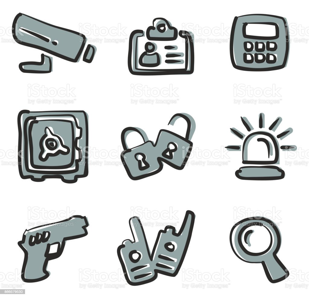 Security Icons Freehand 2 Color vector art illustration