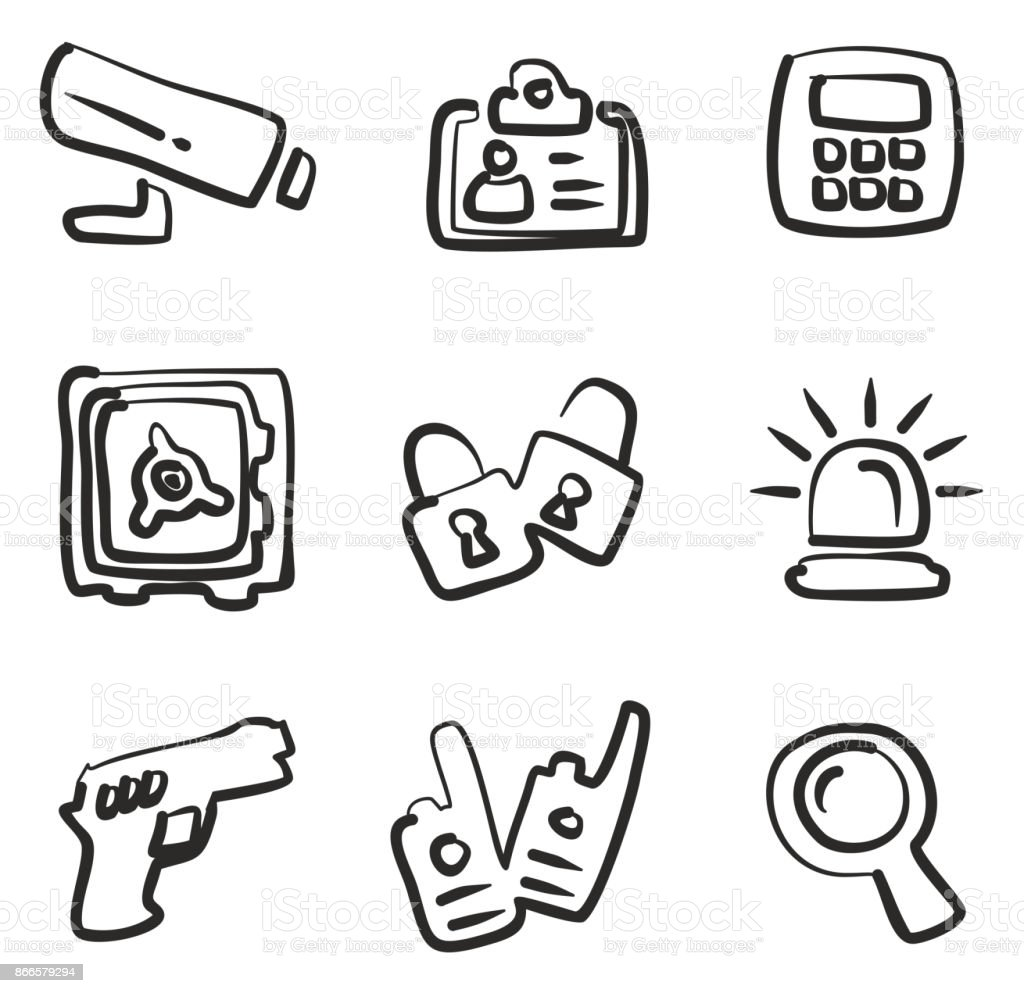 Security Icons Freehand vector art illustration