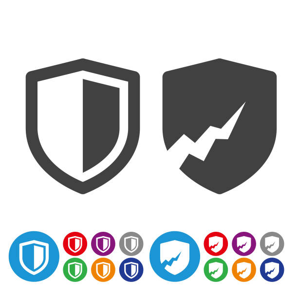 Security Icons - Graphic Icon Series Security, shield, guarding, network security, safety shield stock illustrations