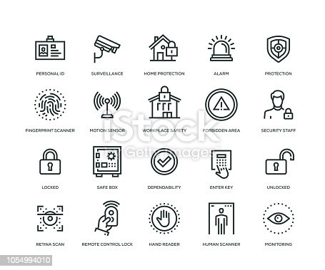 Security Icons - Line Series