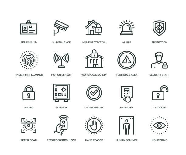 stockillustraties, clipart, cartoons en iconen met veiligheid pictogrammen - line serie - alarm, home,