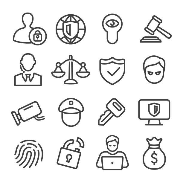 ilustrações, clipart, desenhos animados e ícones de ícones de segurança - linha série - roubo de identidade