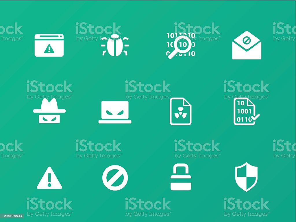 Security icons on green background. vector art illustration