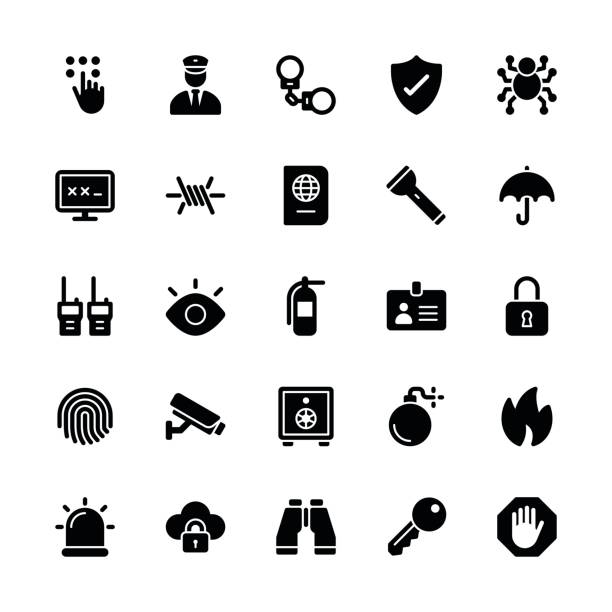 Security icons - Regular Glyph Security icons - Regular Glyph Vector EPS File. flashlight stock illustrations