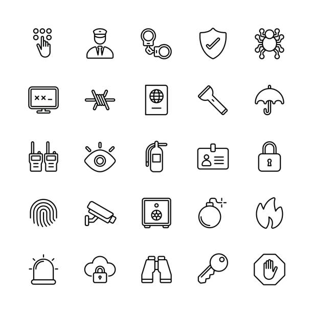 Security icons - Regular Line Security icons - Regular Line Vector EPS File. flashlight stock illustrations