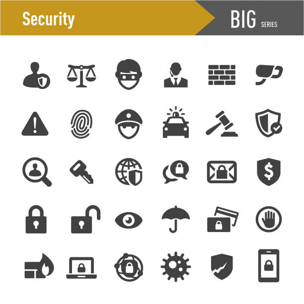 bildbanksillustrationer, clip art samt tecknat material och ikoner med säkerhets ikoner set-stora serier - skydd