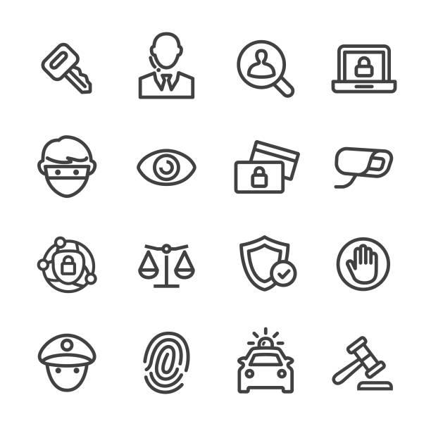 ilustraciones, imágenes clip art, dibujos animados e iconos de stock de conjunto de iconos de seguridad - serie - robo de identidad