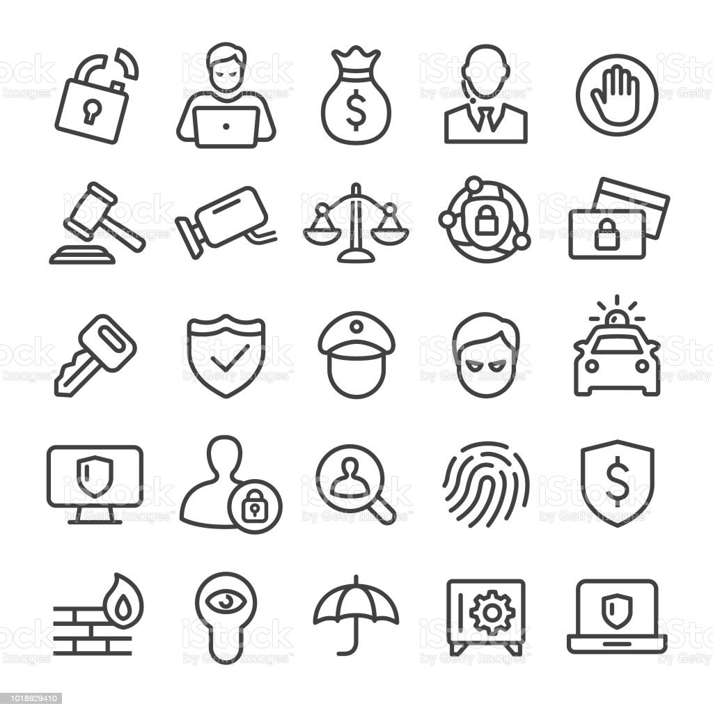Security Icons Set - Smart Line Series Security, privacy, crime, Balance stock vector