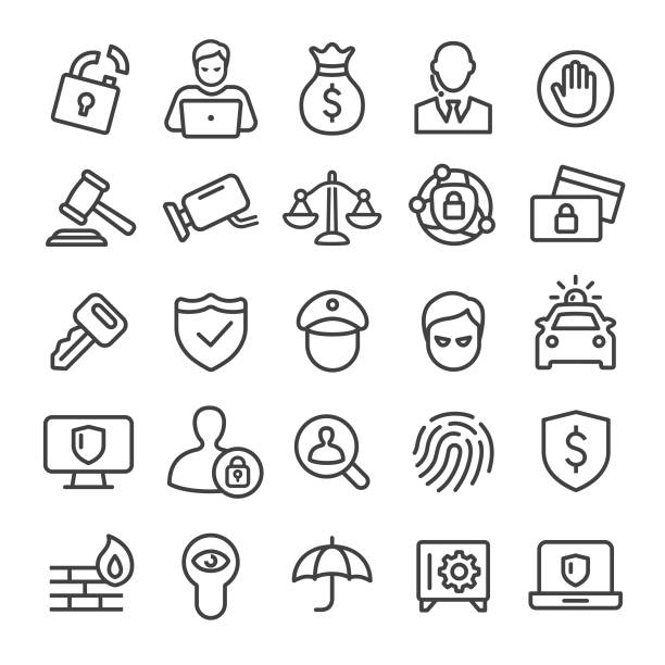 sicherheit icons set - smart line serie - hammer stock-grafiken, -clipart, -cartoons und -symbole