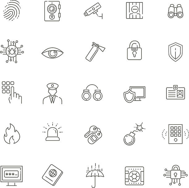 illustrations, cliparts, dessins animés et icônes de ensemble d'icônes de sécurité - polices ligne fine
