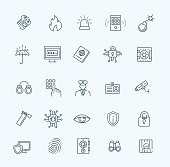 black security icons isolated over white background. vector