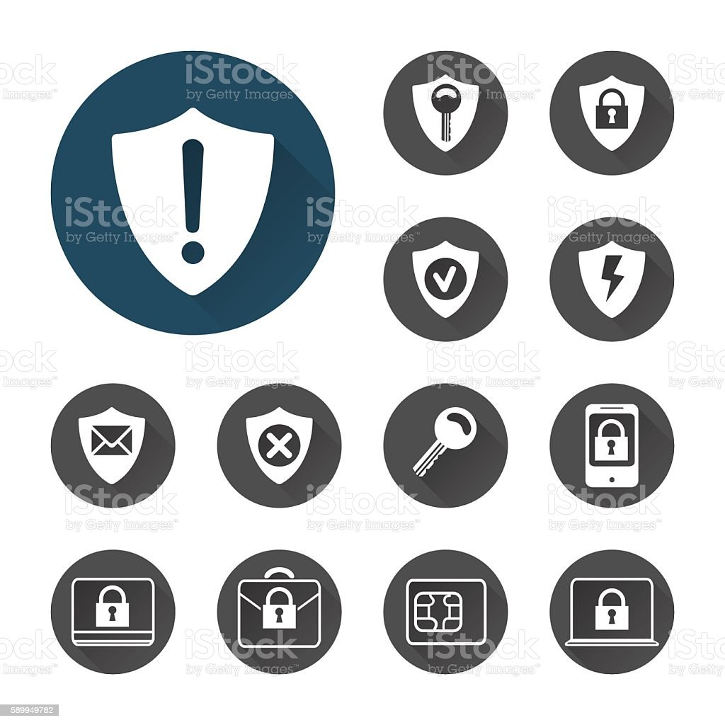 Security icons set with shadows vector art illustration
