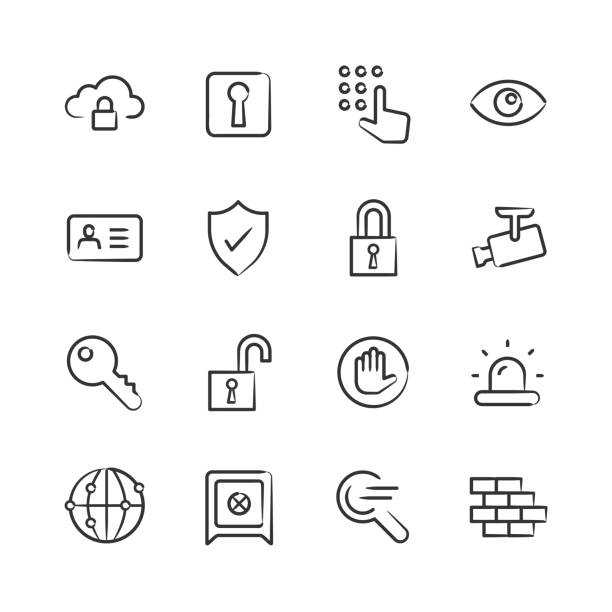 Security Icons — Sketchy Series vector art illustration