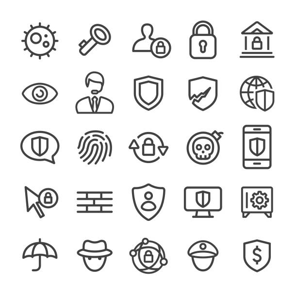 Security Icons - Smart Line Series Security, internet, network security, privacy, virus, technology security staff stock illustrations