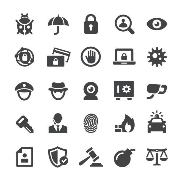 ilustrações, clipart, desenhos animados e ícones de ícones de segurança - série smart - roubo de identidade