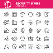 Security, security system, safety, icon, icon set, alarm, fingerprint, security guard
