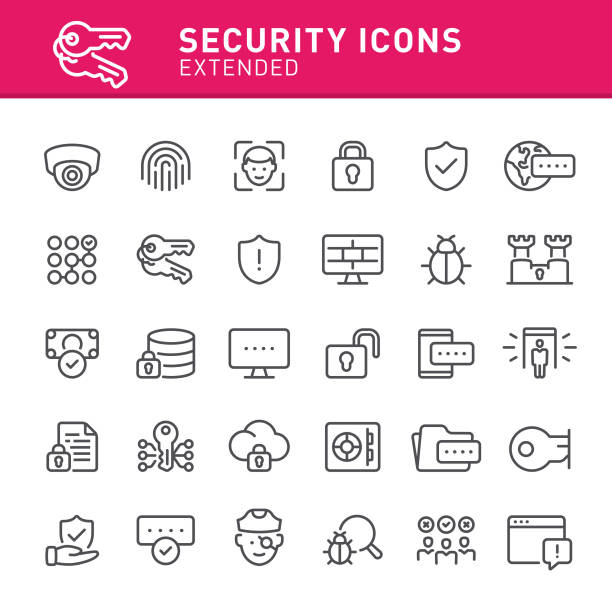 security icons - facial recognition stock illustrations