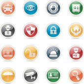 illustration of security icons series with 7 different colors for your design and products.