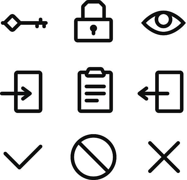 ilustrações de stock, clip art, desenhos animados e ícones de ícones de segurança - going inside eye