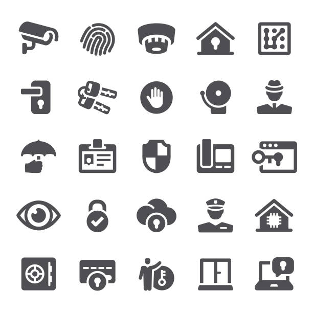 sicherheit-symbole  - wachpersonal stock-grafiken, -clipart, -cartoons und -symbole