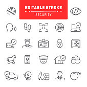 Security, security system, editable stroke, icon, icon set, protection, fingerprint, outline, alarm